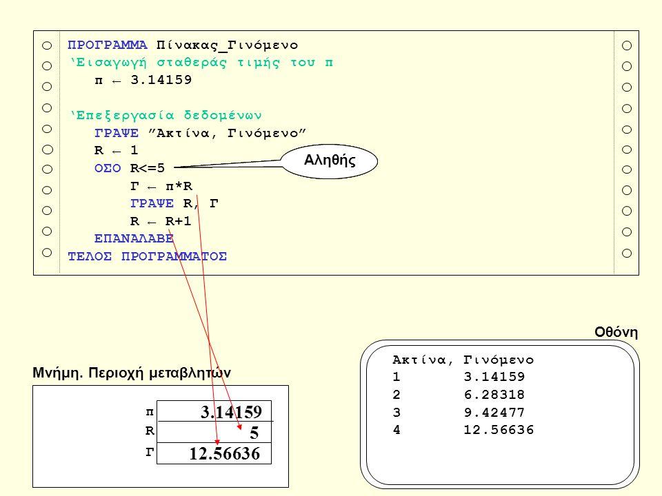 """ΠΡΟΓΡΑΜΜΑ Πίνακας_Γινόμενο 'Εισαγωγή σταθεράς τιμής του π π ← 3.14159 'Επεξεργασία δεδομένων ΓΡΑΨΕ """"Ακτίνα, Γινόμενο"""" R ← 1 ΟΣΟ R<=5 Γ ← π*R ΓΡΑΨΕ R,"""