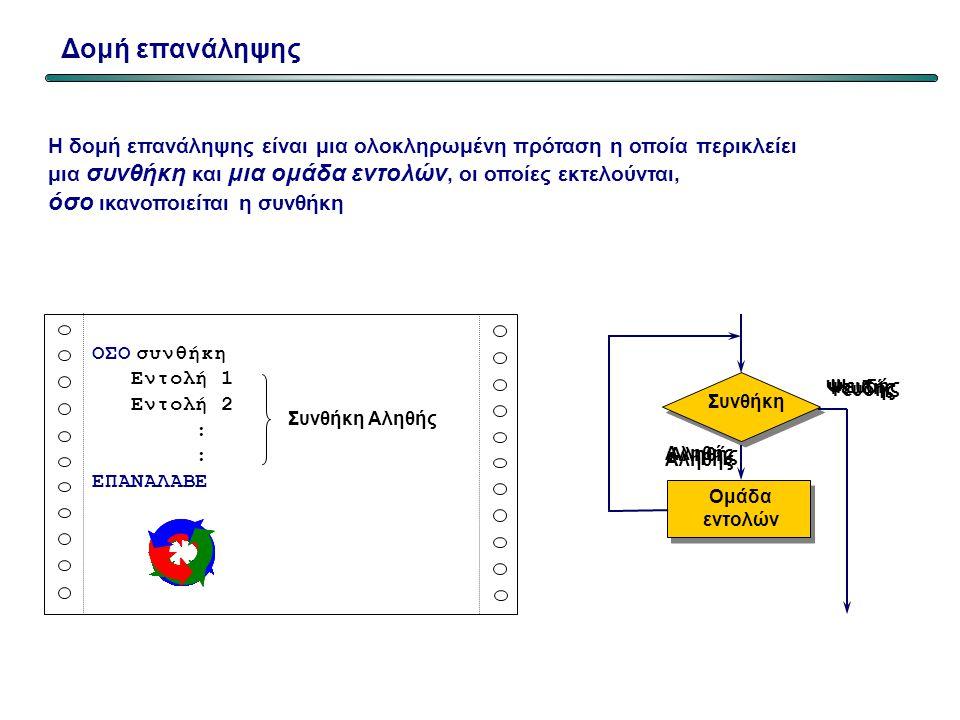 Παράδειγμα 3 Program repeat_3; Uses wincrt; Var posotita,timi,synolo:real; apantisi:char; Begin Repeat write('Dose tin posotita…'); readln(posotita);