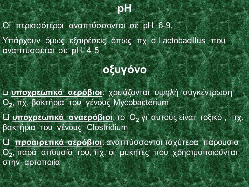 pH Οι περισσότεροι αναπτύσσονται σε pH 6-9.