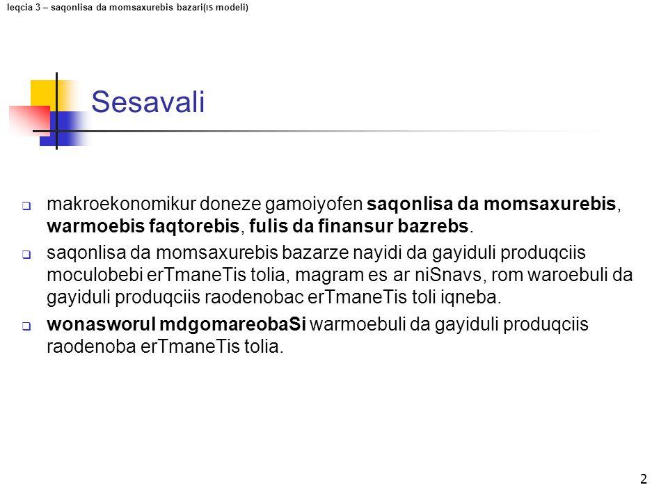 Sesavali 2  makroekonomikur doneze gamoiyofen saqonlisa da momsaxurebis, warmoebis faqtorebis, fulis da finansur bazrebs.  saqonlisa da momsaxurebis