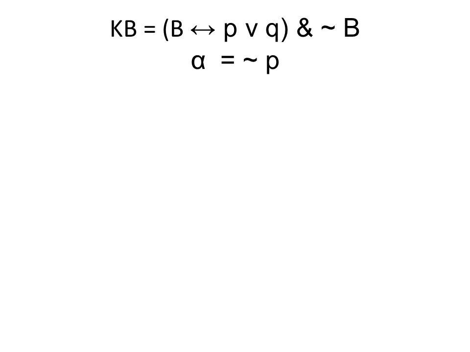KB = (B ↔ p v q) & ~ B α= ~ p