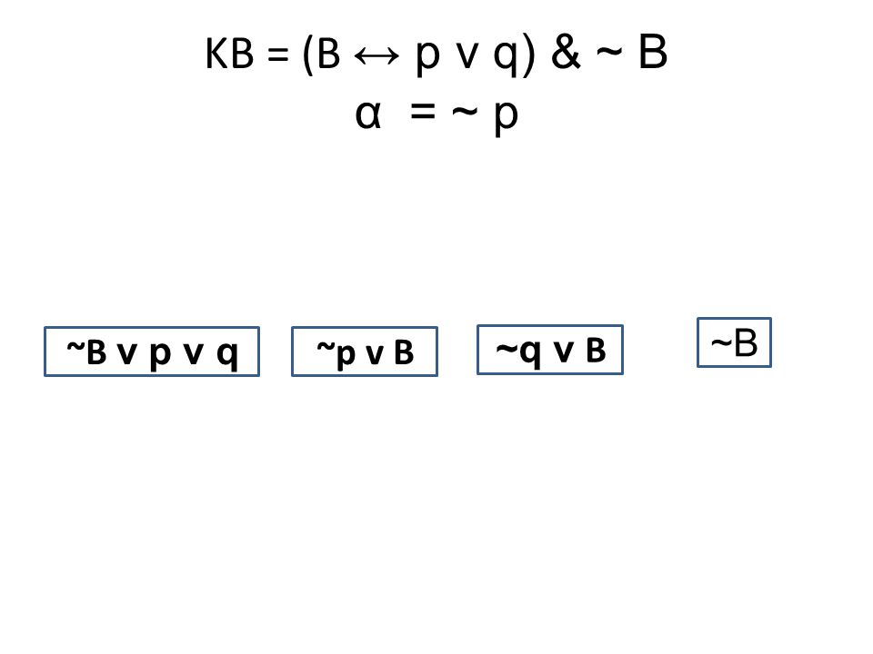 KB = (B ↔ p v q) & ~ B α= ~ p ~B v p v q ~p v B ~q v B ~B