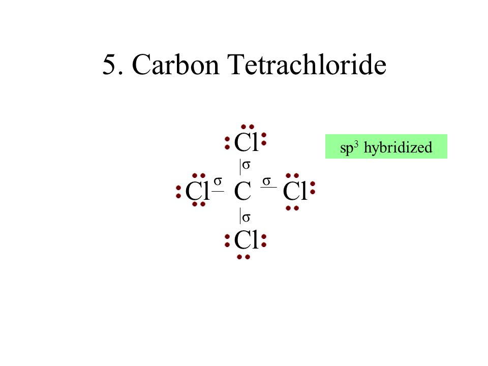 5. Carbon Tetrachloride Cl ClCCl Cl σ σ σ σ sp 3 hybridized