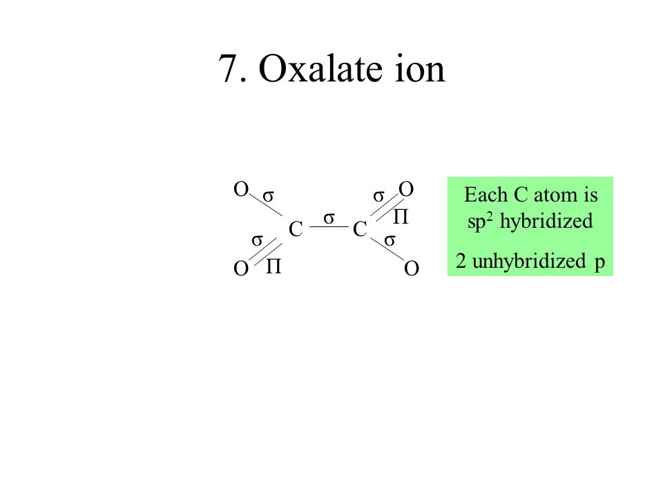 7. Oxalate ion O C C O σ σσ σσ Π Π Each C atom is sp 2 hybridized 2 unhybridized p