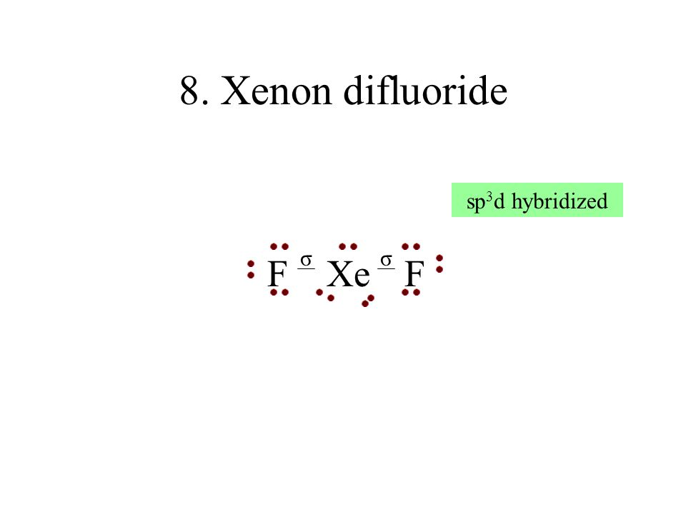 19. Iodine pentafluoride F F I FF σ σσ σσ sp 3 d 2 hybridized