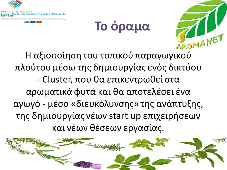 Το όραμα Η αξιοποίηση του τοπικού παραγωγικού πλούτου μέσω της δημιουργίας ενός δικτύου - Cluster, που θα επικεντρωθεί στα αρωματικά φυτά και θα αποτε