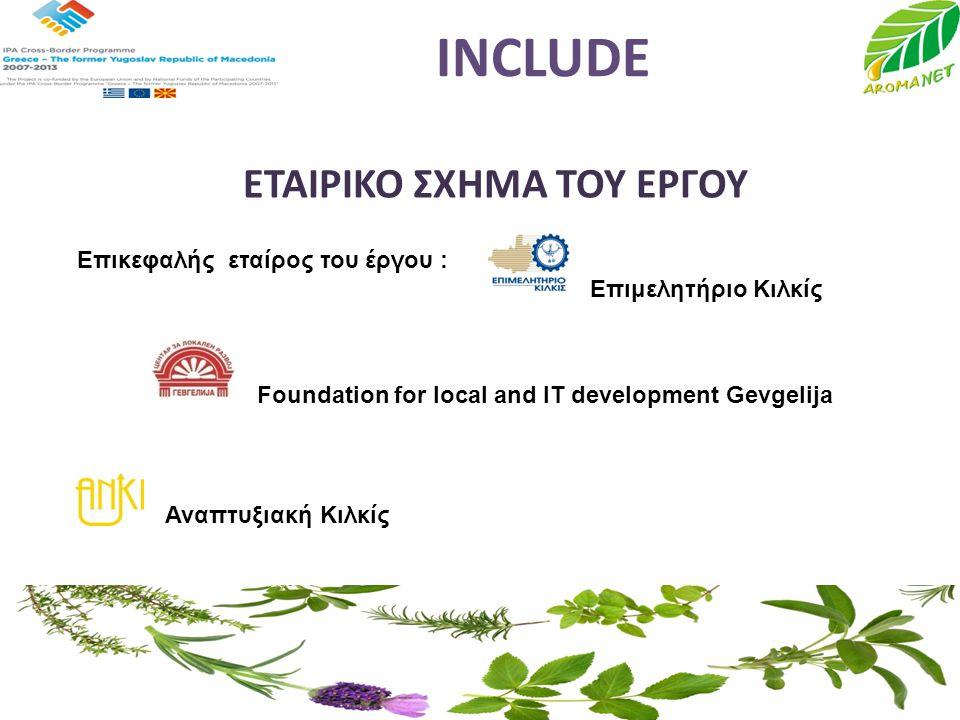 INCLUDE ΕΤΑΙΡΙΚΟ ΣΧΗΜΑ ΤΟΥ ΕΡΓΟΥ Επικεφαλής εταίρος του έργου : Επιμελητήριο Κιλκίς Foundation for local and IT development Gevgelija Αναπτυξιακή Κιλκ