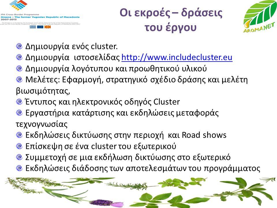 Οι εκροές – δράσεις του έργου Δημιουργία ενός cluster. Δημιουργία ιστοσελίδας http://www.includecluster.euhttp://www.includecluster.eu Δημιουργία λογό