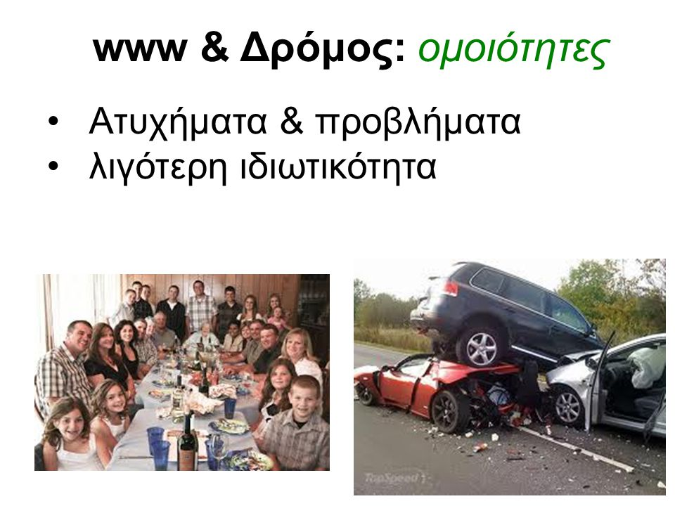 www & Δρόμος: ομοιότητες Ατυχήματα & προβλήματα λιγότερη ιδιωτικότητα