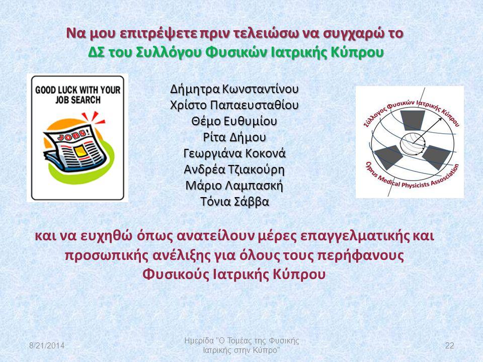 Να μου επιτρέψετε πριν τελειώσω να συγχαρώ το ΔΣ του Συλλόγου Φυσικών Ιατρικής Κύπρου Δήμητρα Κωνσταντίνου Χρίστο Παπαευσταθίου Θέμο Ευθυμίου Ρίτα Δήμ