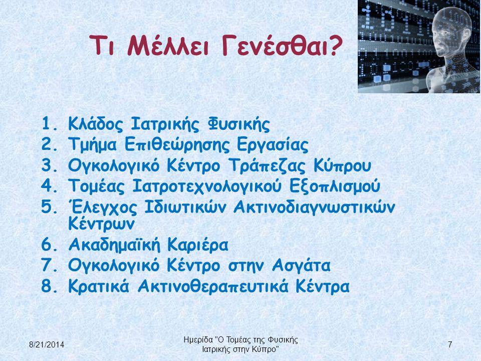Τι Μέλλει Γενέσθαι? 1.Κλάδος Ιατρικής Φυσικής 2.Τμήμα Επιθεώρησης Εργασίας 3.Ογκολογικό Κέντρο Τράπεζας Κύπρου 4.Τομέας Ιατροτεχνολογικού Εξοπλισμού 5