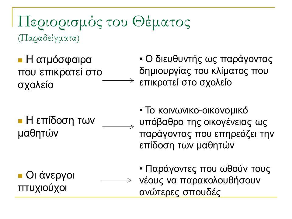 Περιορισμός του Θέματος (Παραδείγματα) Η ατμόσφαιρα που επικρατεί στο σχολείο Η επίδοση των μαθητών Οι άνεργοι πτυχιούχοι Ο διευθυντής ως παράγοντας δ
