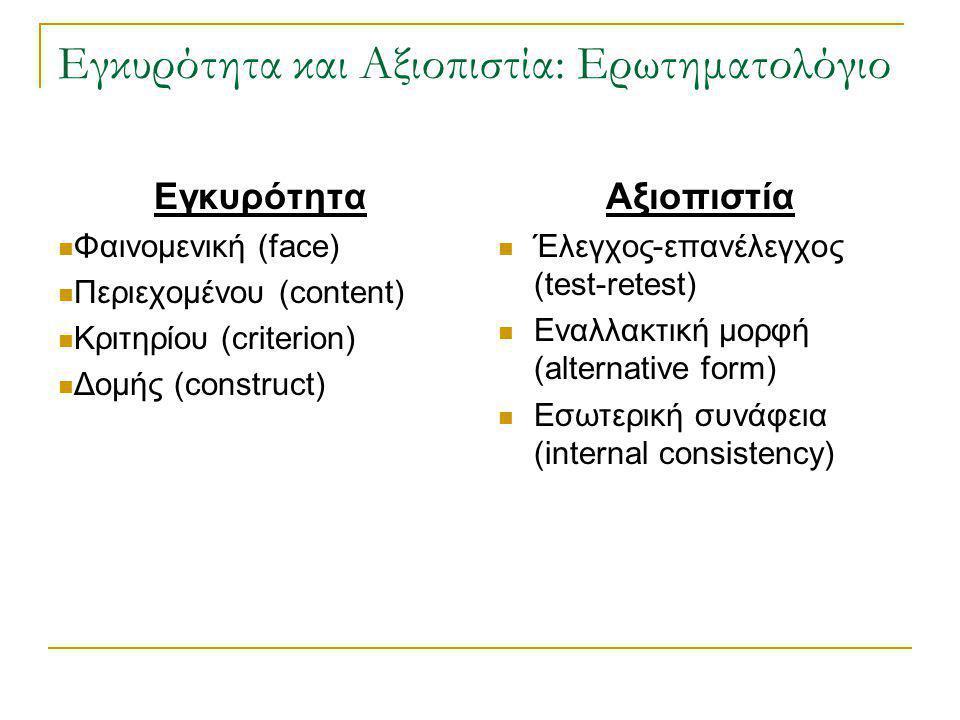 Εγκυρότητα και Αξιοπιστία: Ερωτηματολόγιο Εγκυρότητα Φαινομενική (face) Περιεχομένου (content) Κριτηρίου (criterion) Δομής (construct) Αξιοπιστία Έλεγ
