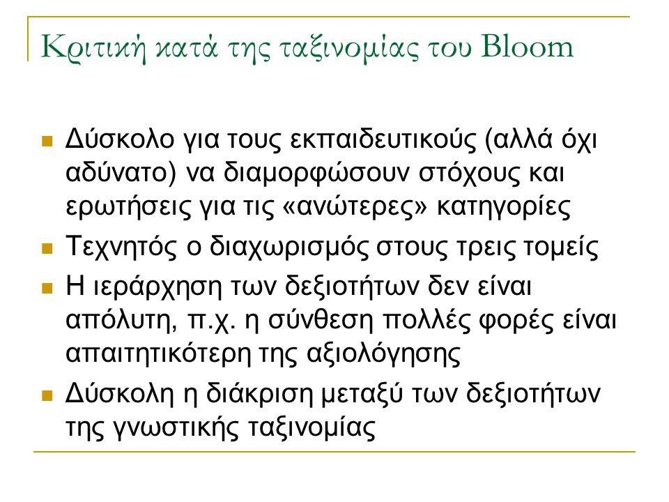 Κριτική κατά της ταξινομίας του Bloom Δύσκολο για τους εκπαιδευτικούς (αλλά όχι αδύνατο) να διαμορφώσουν στόχους και ερωτήσεις για τις «ανώτερες» κατη