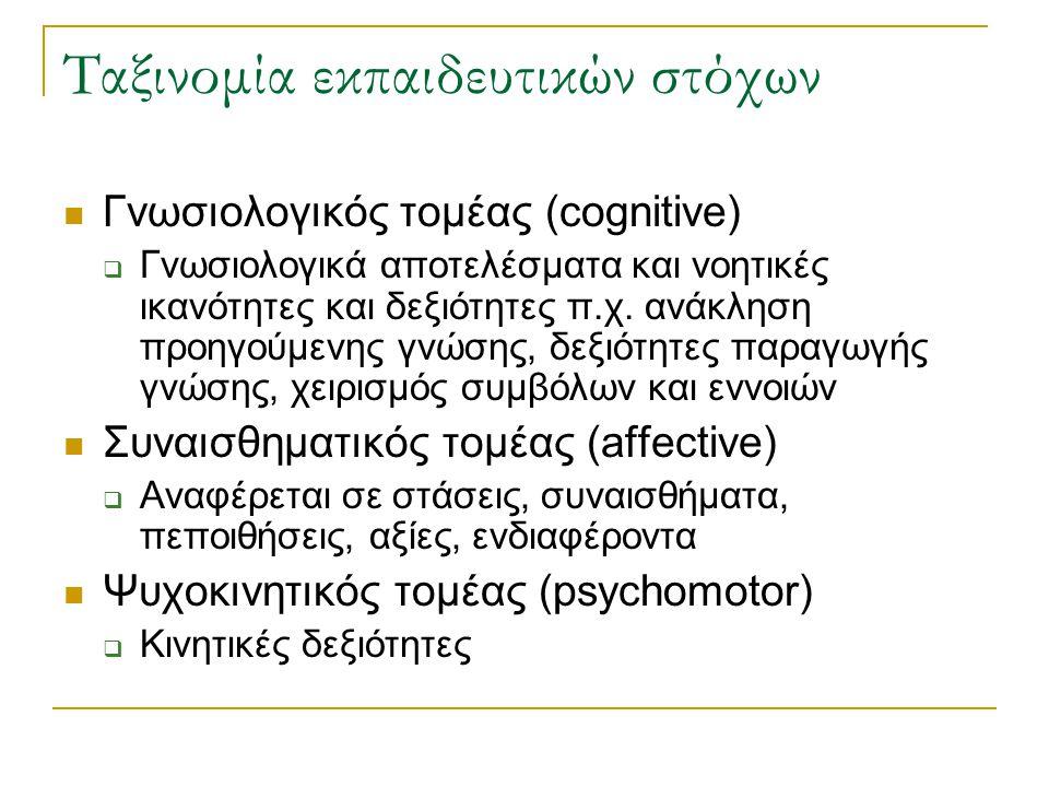 Ταξινομία εκπαιδευτικών στόχων Γνωσιολογικός τομέας (cognitive)  Γνωσιολογικά αποτελέσματα και νοητικές ικανότητες και δεξιότητες π.χ. ανάκληση προηγ
