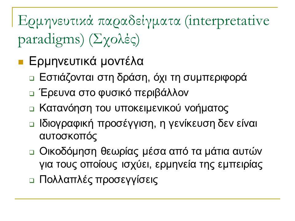 Ερμηνευτικά παραδείγματα (interpretative paradigms) (Σχολές) Ερμηνευτικά μοντέλα  Εστιάζονται στη δράση, όχι τη συμπεριφορά  Έρευνα στο φυσικό περιβ