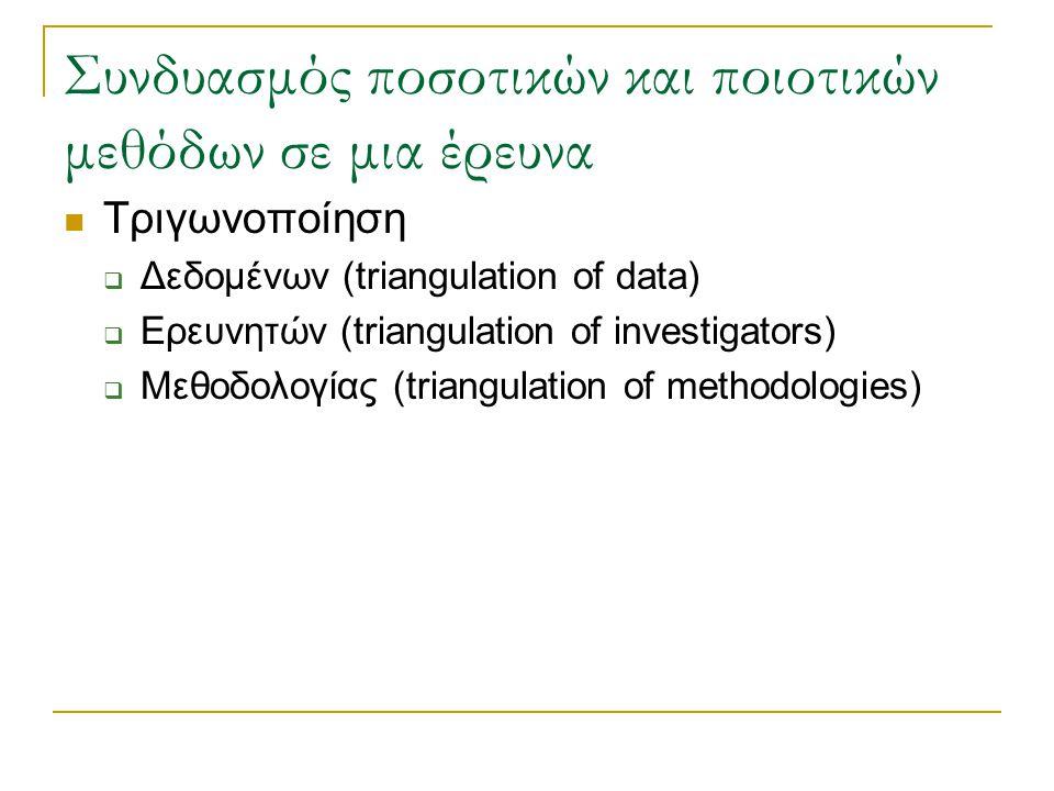 Συνδυασμός ποσοτικών και ποιοτικών μεθόδων σε μια έρευνα Τριγωνοποίηση  Δεδομένων (triangulation of data)  Ερευνητών (triangulation of investigators