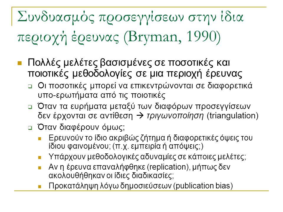 Συνδυασμός προσεγγίσεων στην ίδια περιοχή έρευνας (Bryman, 1990) Πολλές μελέτες βασισμένες σε ποσοτικές και ποιοτικές μεθοδολογίες σε μια περιοχή έρευ