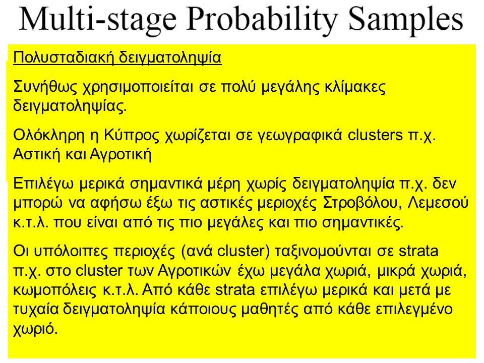 Πολυσταδιακή δειγματοληψία Συνήθως χρησιμοποιείται σε πολύ μεγάλης κλίμακες δειγματοληψίας. Ολόκληρη η Κύπρος χωρίζεται σε γεωγραφικά clusters π.χ. Ασ