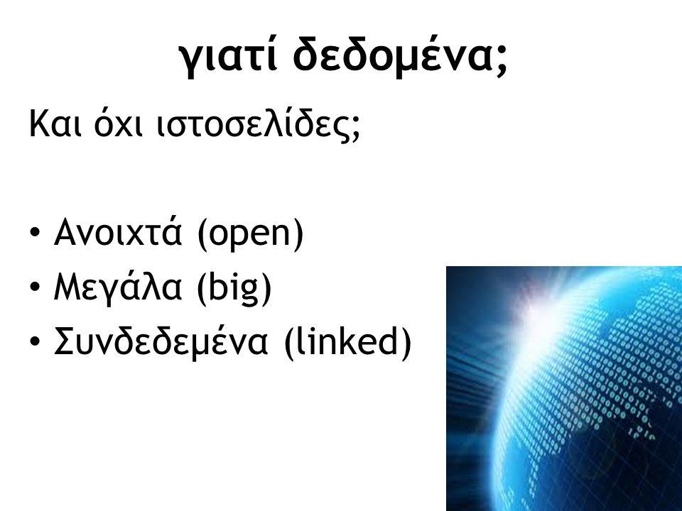 γιατί δεδομένα; Και όχι ιστοσελίδες; Ανοιχτά (open) Μεγάλα (big) Συνδεδεμένα (linked)