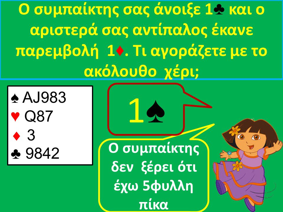 Ο συμπαίκτης σας άνοιξε 1 ♦ και ο αριστερά σας αντίπαλος έκανε παρεμβολή 2 ♣.