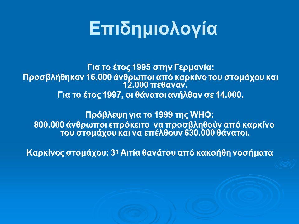 Επιδημιολογία Για το έτος 1995 στην Γερμανία: Προσβλήθηκαν 16.000 άνθρωποι από καρκίνο του στομάχου και 12.000 πέθαναν.