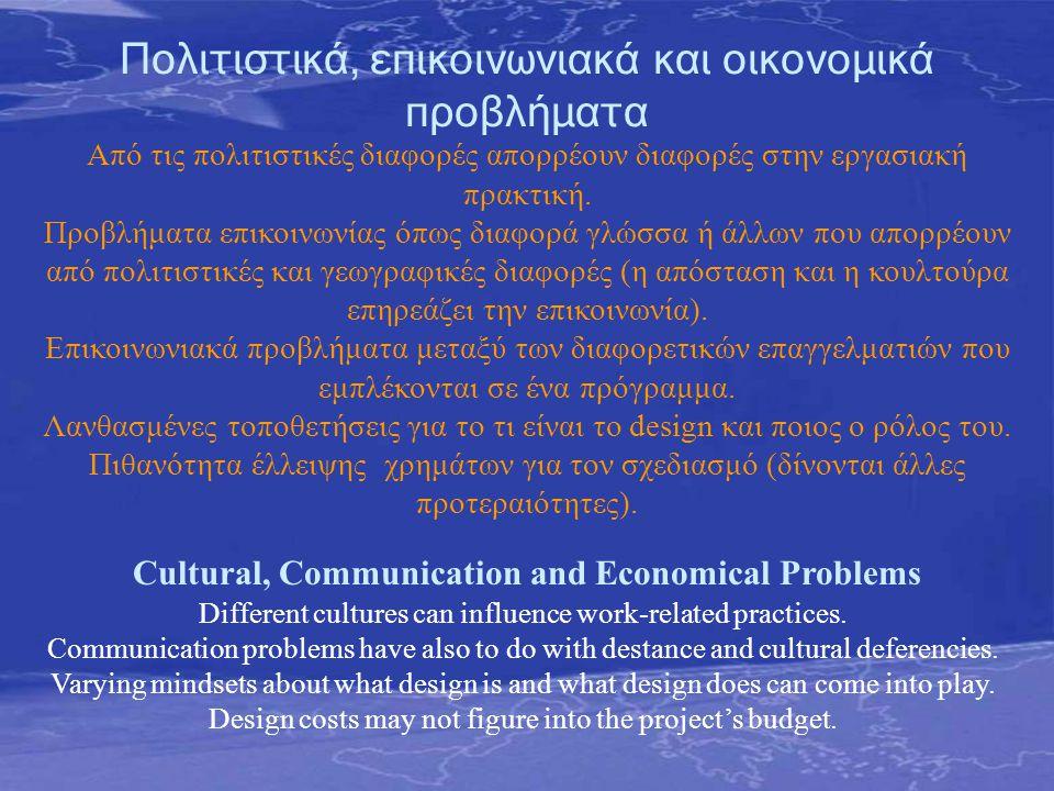 Πολιτιστικά, επικοινωνιακά και οικονομικά προβλήματα Cultural, Communication and Economical Problems Από τις πολιτιστικές διαφορές απορρέουν διαφορές στην εργασιακή πρακτική.