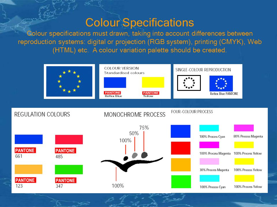 Colour Specifications Colour specifications must drawn, taking into account differences between reproduction systems: digital or projection (RGB system), printing (CMYK), Web (HTML) etc.