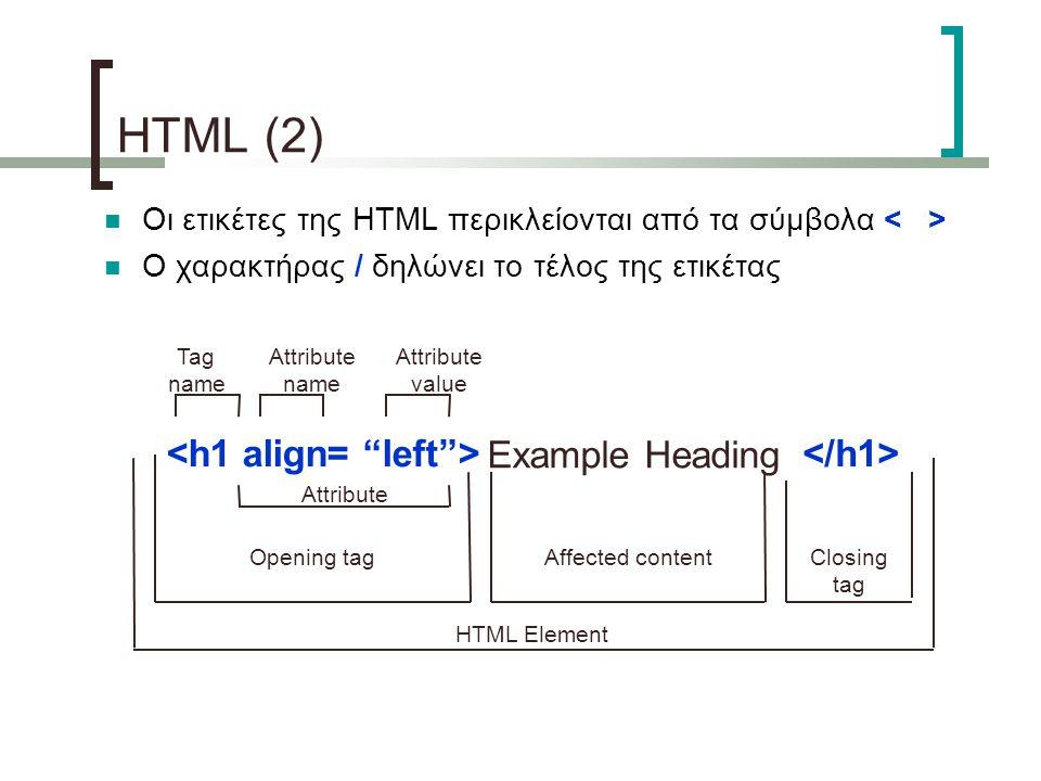 Οι ετικέτες της HTML περικλείονται από τα σύμβολα Ο χαρακτήρας / δηλώνει το τέλος της ετικέτας Example Heading Tag name Attribute name Attribute value Opening tag Affected content Closing tag Attribute HTML Element HTML (2)