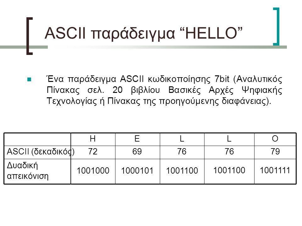 ASCII παράδειγμα HELLO Ένα παράδειγμα ASCII κωδικοποίησης 7bit (Αναλυτικός Πίνακας σελ.