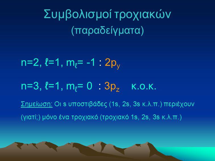 Συμβολισμοί τροχιακών (παραδείγματα) n=2, ℓ=1, m ℓ = -1 : 2p y n=3, ℓ=1, m ℓ = 0 : 3p z κ.ο.κ. Σημείωση: Οι s υποστιβάδες (1s, 2s, 3s κ.λ.π.) περιέχου