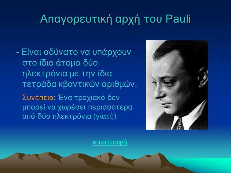 Aπαγορευτική αρχή του Pauli - Είναι αδύνατο να υπάρχουν στο ίδιο άτομο δύο ηλεκτρόνια με την ίδια τετράδα κβαντικών αριθμών. Συνέπεια: Ένα τροχιακό δε