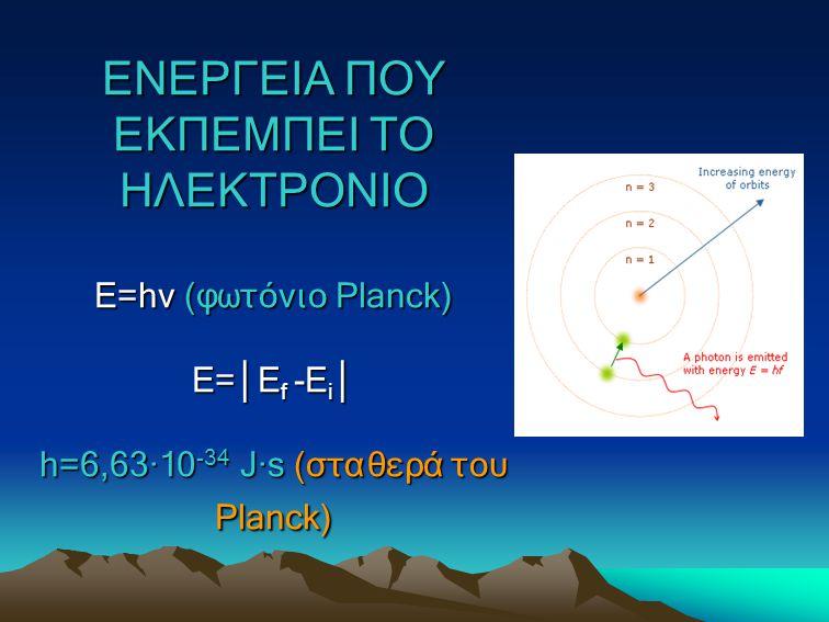 ΕΝΕΡΓΕΙΑ ΠΟΥ ΕΚΠΕΜΠΕΙ ΤΟ ΗΛΕΚΤΡΟΝΙΟ Ε=hv (φωτόνιο Planck) E= │ E f -E i │ h=6,63∙10 -34 J∙s (σταθερά του Planck)