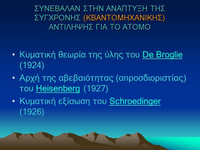 ΣΥΝΕΒΑΛΑΝ ΣΤΗΝ ΑΝΑΠΤΥΞΗ ΤΗΣ ΣΥΓΧΡΟΝΗΣ (ΚΒΑΝΤΟΜΗΧΑΝΙΚΗΣ) ΑΝΤΙΛΗΨΗΣ ΓΙΑ ΤΟ ΑΤΟΜΟ Κυματική θεωρία της ύλης του De Broglie (1924)De Broglie Αρχή της αβεβα