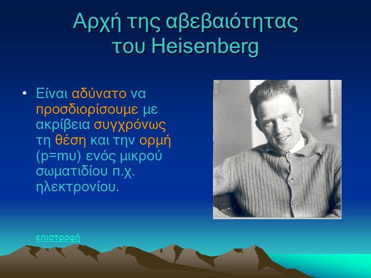 Αρχή της αβεβαιότητας του Heisenberg Είναι αδύνατο να προσδιορίσουμε με ακρίβεια συγχρόνως τη θέση και την ορμή (p=mυ) ενός μικρού σωματιδίου π.χ. ηλε
