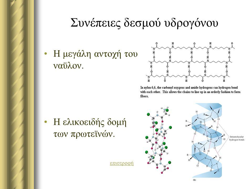 Συνέπειες δεσμού υδρογόνου Η μεγάλη αντοχή του ναϋλον. Η ελικοειδής δομή των πρωτεϊνών. επιστροφή
