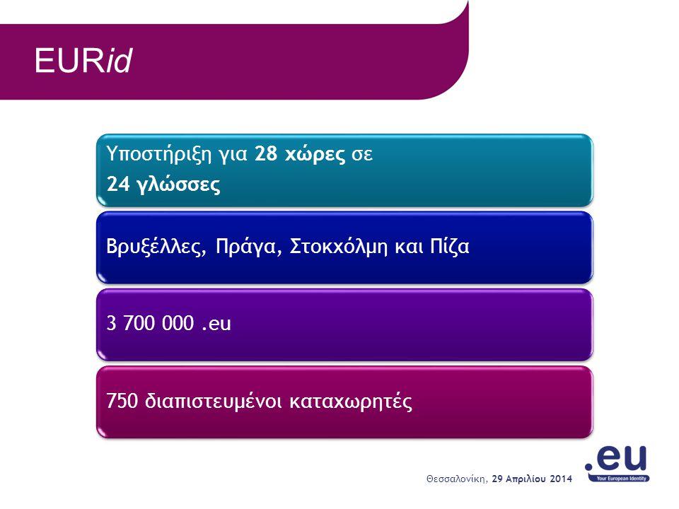 EURid Υποστήριξη για 28 χώρες σε 24 γλώσσες Βρυξέλλες, Πράγα, Στοκχόλμη και Πίζα3 700 000.eu750 διαπιστευμένοι καταχωρητές 29 Απριλίου 2014 Θεσσαλονίκ