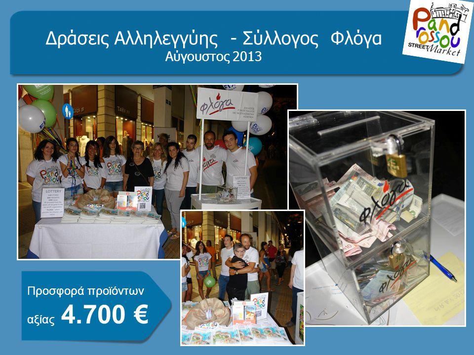 Δράσεις Αλληλεγγύης - Σύλλογος Φλόγα Αύγουστος 2013 Προσφορά προϊόντων αξίας 4.700 €