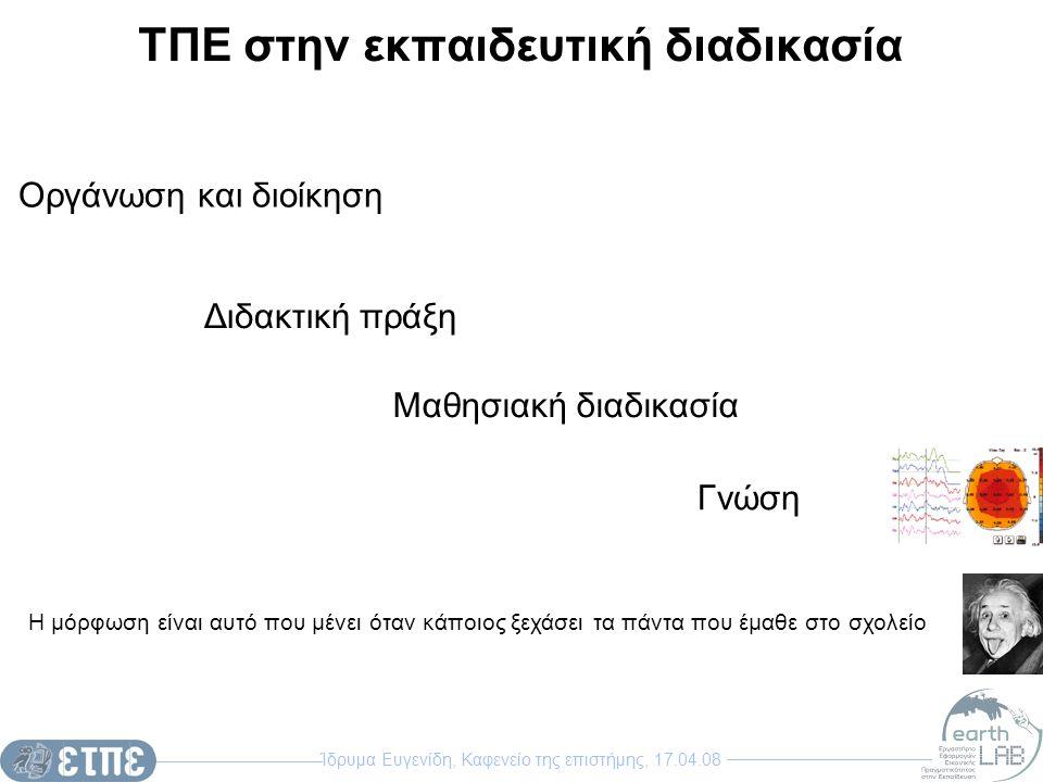 Ίδρυμα Ευγενίδη, Καφενείο της επιστήμης, 17.04.08 ΤΠΕ στην εκπαιδευτική διαδικασία Οργάνωση και διοίκηση Διδακτική πράξη Η μόρφωση είναι αυτό που μένε