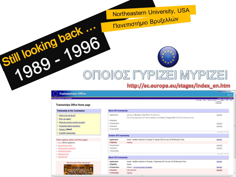 Northeastern University, USA Πανεπιστήμιο Βρυξελλών