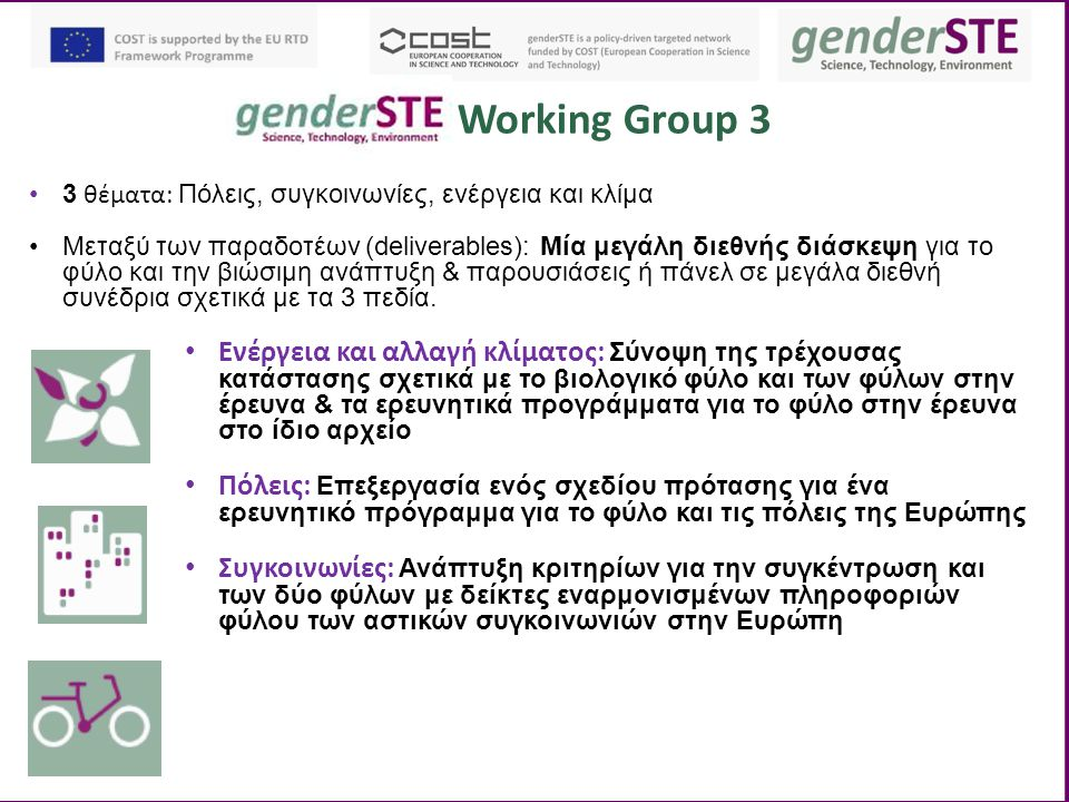 Working Group 3 Ενέργεια και αλλαγή κλίματος: Σύνοψη της τρέχουσας κατάστασης σχετικά με το βιολογικό φύλο και των φύλων στην έρευνα & τα ερευνητικά προγράμματα για το φύλο στην έρευνα στο ίδιο αρχείο Πόλεις: Επεξεργασία ενός σχεδίου πρότασης για ένα ερευνητικό πρόγραμμα για το φύλο και τις πόλεις της Ευρώπης Συγκοινωνίες: Ανάπτυξη κριτηρίων για την συγκέντρωση και των δύο φύλων με δείκτες εναρμονισμένων πληροφοριών φύλου των αστικών συγκοινωνιών στην Ευρώπη 3 θέματα: Πόλεις, συγκοινωνίες, ενέργεια και κλίμα Μεταξύ των παραδοτέων (deliverables): Μία μεγάλη διεθνής διάσκεψη για το φύλο και την βιώσιμη ανάπτυξη & παρουσιάσεις ή πάνελ σε μεγάλα διεθνή συνέδρια σχετικά με τα 3 πεδία.