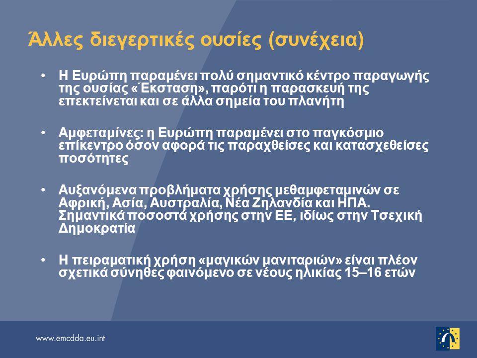 Άλλες διεγερτικές ουσίες (συνέχεια) Η Ευρώπη παραμένει πολύ σημαντικό κέντρο παραγωγής της ουσίας «Έκσταση», παρότι η παρασκευή της επεκτείνεται και σ