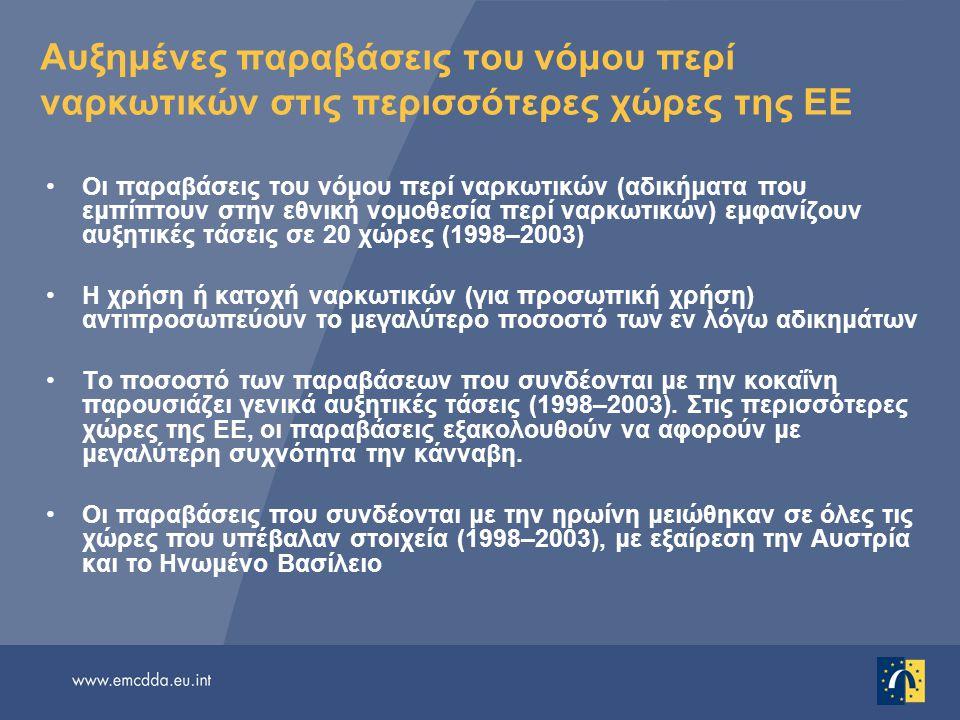 Αυξημένες παραβάσεις του νόμου περί ναρκωτικών στις περισσότερες χώρες της ΕΕ Οι παραβάσεις του νόμου περί ναρκωτικών (αδικήματα που εμπίπτουν στην εθ
