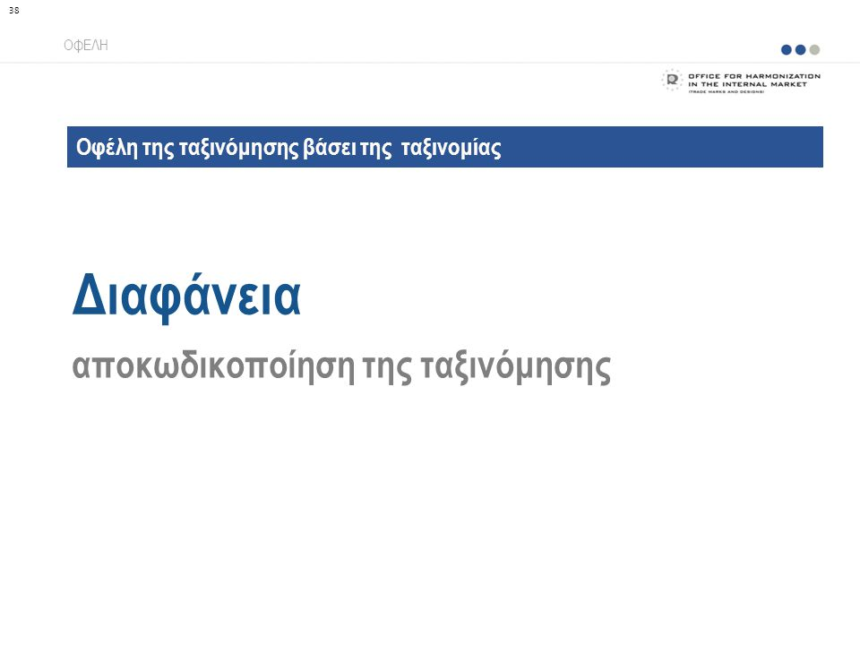 Οφέλη της ταξινόμησης βάσει της ταξινομίας Διαφάνεια ΟΦΕΛΗ αποκωδικοποίηση της ταξινόμησης 38