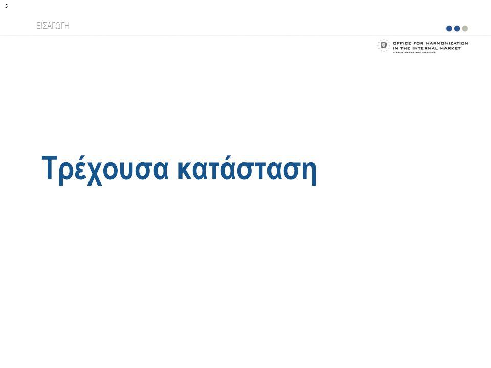 Εφαρμογή της ταξινομίας Αρχική εφαρμογή ΕΦΑΡΜΟΓΗ TMclassΗλεκτρονική κατάθεση WIPO NiceΔιαδικτυακές υπηρεσίες 46