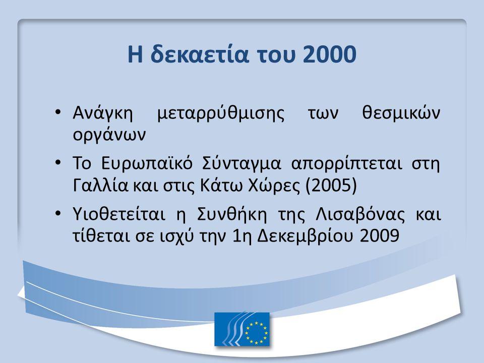 Η δεκαετία του 2000 Ανάγκη μεταρρύθμισης των θεσμικών οργάνων Το Ευρωπαϊκό Σύνταγμα απορρίπτεται στη Γαλλία και στις Κάτω Χώρες (2005) Υιοθετείται η Συνθήκη της Λισαβόνας και τίθεται σε ισχύ την 1η Δεκεμβρίου 2009