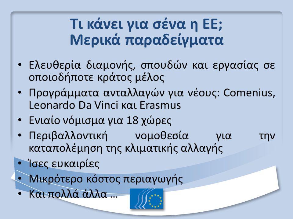 Τι κάνει για σένα η ΕΕ; Μερικά παραδείγματα Ελευθερία διαμονής, σπουδών και εργασίας σε οποιοδήποτε κράτος μέλος Προγράμματα ανταλλαγών για νέους: Comenius, Leonardo Da Vinci και Erasmus Ενιαίο νόμισμα για 18 χώρες Περιβαλλοντική νομοθεσία για την καταπολέμηση της κλιματικής αλλαγής Ίσες ευκαιρίες Μικρότερο κόστος περιαγωγής Και πολλά άλλα …
