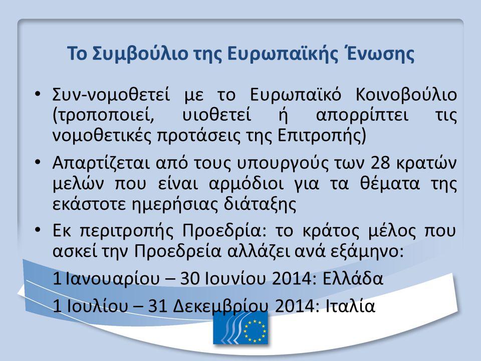 Το Συμβούλιο της Ευρωπαϊκής Ένωσης Συν-νομοθετεί με το Ευρωπαϊκό Κοινοβούλιο (τροποποιεί, υιοθετεί ή απορρίπτει τις νομοθετικές προτάσεις της Επιτροπής) Απαρτίζεται από τους υπουργούς των 28 κρατών μελών που είναι αρμόδιοι για τα θέματα της εκάστοτε ημερήσιας διάταξης Εκ περιτροπής Προεδρία: το κράτος μέλος που ασκεί την Προεδρεία αλλάζει ανά εξάμηνο: 1 Ιανουαρίου – 30 Ιουνίου 2014: Ελλάδα 1 Ιουλίου – 31 Δεκεμβρίου 2014: Ιταλία
