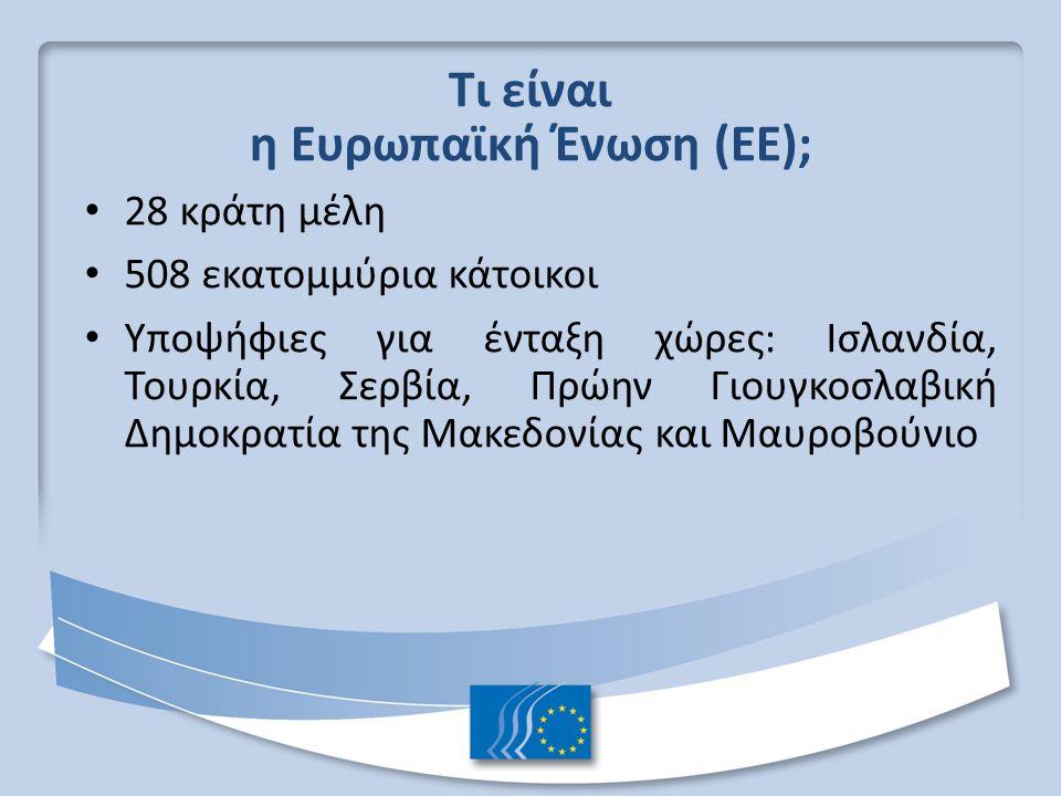 Τι είναι η Ευρωπαϊκή Ένωση (ΕΕ); 28 κράτη μέλη 508 εκατομμύρια κάτοικοι Υποψήφιες για ένταξη χώρες: Ισλανδία, Τουρκία, Σερβία, Πρώην Γιουγκοσλαβική Δημοκρατία της Μακεδονίας και Μαυροβούνιο