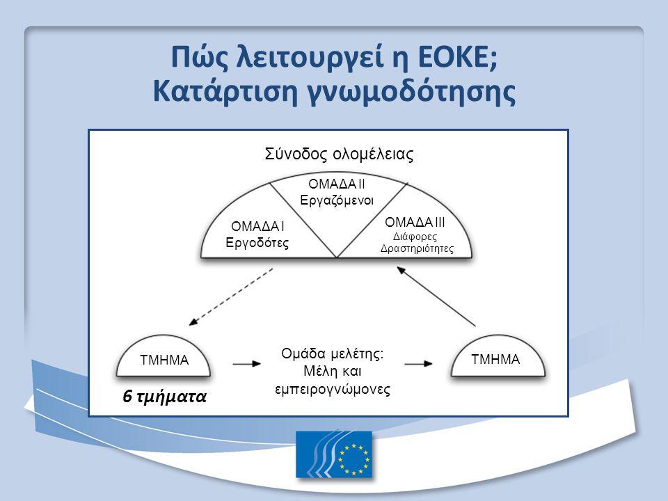 Πώς λειτουργεί η ΕΟΚΕ; Κατάρτιση γνωμοδότησης 6 τμήματα Σύνοδος ολομέλειας ΟΜΑΔΑ II Εργαζόμενοι ΟΜΑΔΑ I Εργοδότες ΟΜΑΔΑ III Διάφορες Δραστηριότητες ΤΜΗΜΑ Ομάδα μελέτης: Μέλη και εμπειρογνώμονες